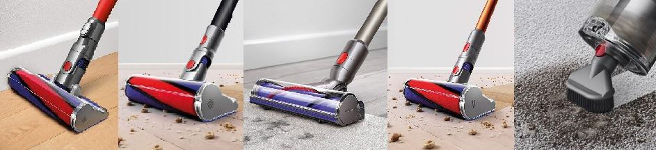 Comparison Dyson V6 Absolute with Soft Roller Cleaner Head, Dyson V7 Absolute with Soft Roller Cleaner Head, Dyson V8 with Direct-Drive Cleaner Head, Dyson V10 Absolute with soft roller cleaner head, and Dyson V11 with the Stubborn Dirt Tool on Boost mode